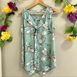 Warehouse One Floral Sleeveless Blouse